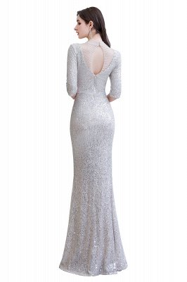 Gorgeous Silver Long sleeves Long Prom Dress_13
