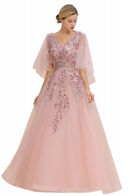 Ruffy Sleeves aline Romantic Tulle Evening Maxi Gown Pearl Lace Appliques Party Dress_8