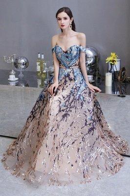 Funkeln Sie von der Schulter Rainbow Pailletten A-Linie Long Prom Dress_8