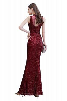 Élégante robe de bal sirène sans manches à col illusion bordeaux_11