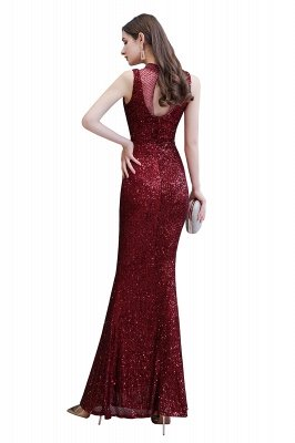 Elegant Illusion neck Burgundy Sleeveless Mermaid Prom Dress_11