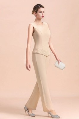 Champagne Long sleeves Jacket Chiffon Mother of the Bride Jumpsuit_9