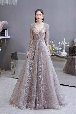 Modest Long sleeves V-neck Princess Prom Dress_2