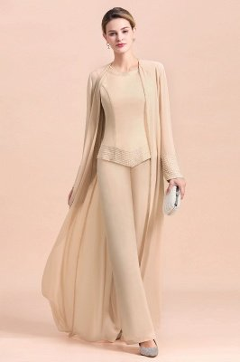 Champagne Long sleeves Jacket Chiffon Mother of the Bride Jumpsuit_5