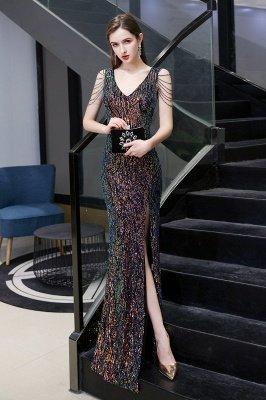 Sparkle V-neck High split Sleeveless Black Evening Dress Online_17