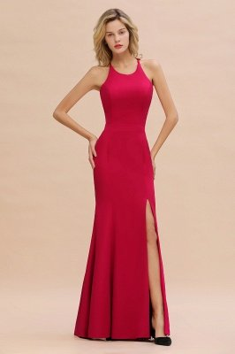 Sexy Halter Mermaid Evening Maxi Gown Side Slit Party Dress_4