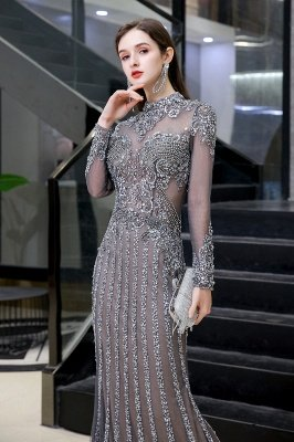 Luxury Sparkle Cap sleeves High neck Beads Long Prom Dresses_5