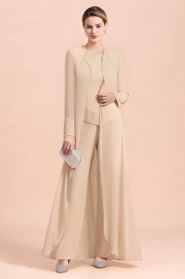 Champagne Long sleeves Jacket Chiffon Mother of the Bride Jumpsuit