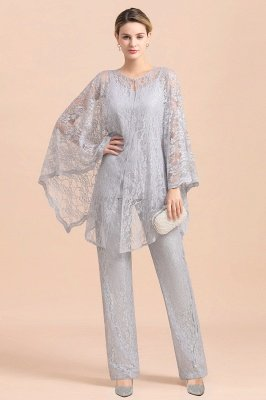 Trendy Long sleeves Silver Lace Wraps V-Neck Mother of Bride Jumpsuit