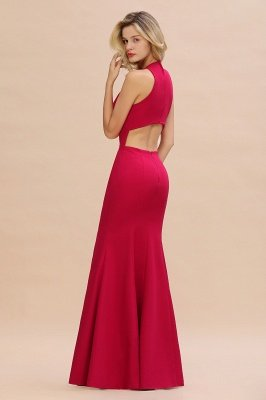Sexy Halter Mermaid Evening Maxi Gown Side Slit Party Dress_6