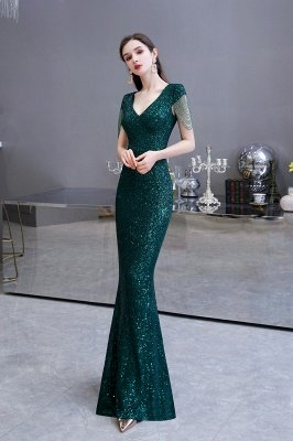 Shining Sequined Emerald Green Mermaid Cap sleeve Long Prom Dress_9