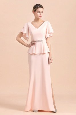 Cap sleeves V-neck Pink Two pieces Long mother of the bride dress