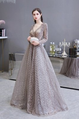 Modest Long sleeves V-neck Princess Prom Dress_3