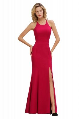 Sexy Halter Mermaid Evening Maxi Gown Side Slit Party Dress_13