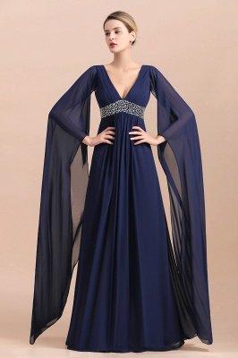 Dark Navy Deep V-neck High waist A-line Beaded Belt Mother Dresses