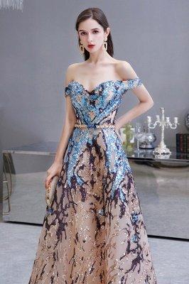 Funkeln Sie von der Schulter Rainbow Pailletten A-Linie Long Prom Dress_5