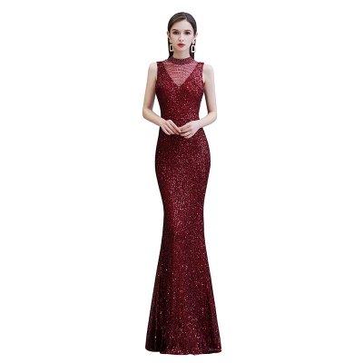 Élégante robe de bal sirène sans manches à col illusion bordeaux_8