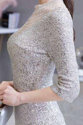Gorgeous Silver Long sleeves Long Prom Dress_10