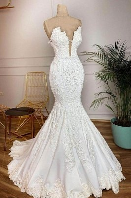 Sweetheart Plugging V-neck Mermaid White Bridal Gowns in Real Model with Lace Train