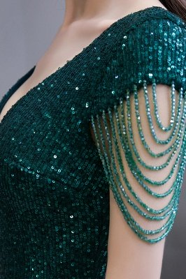 Shining Sequined Emerald Green Mermaid Cap sleeve Long Prom Dress_10