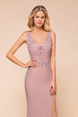 Charming 3D Lace Appliques Mermaid Prom Dress Sleeveless Floor Length Side Slit Evening Gown_3