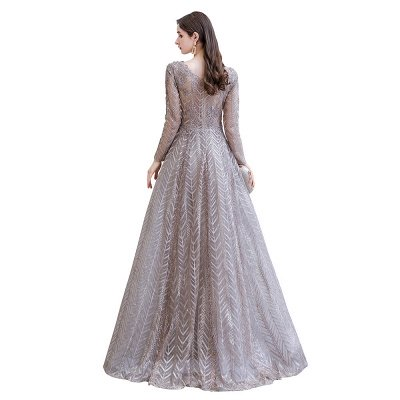 Modest Long sleeves V-neck Princess Prom Dress_14