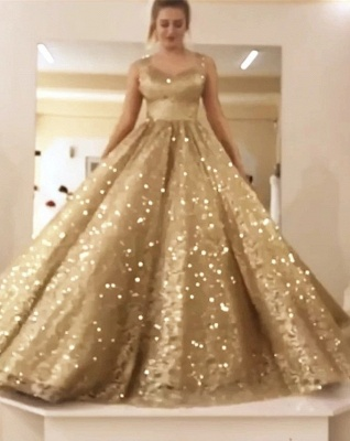Sleeveless Straps Gold Sequin Ball Gown Long Sparkle Prom Dress_3