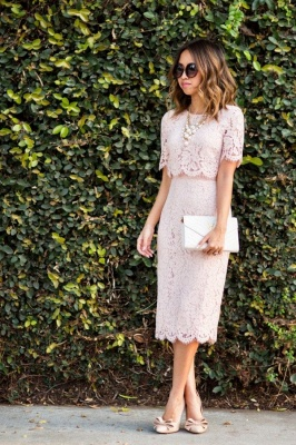 Vestido de regreso a casa de verano con manga 1/2 columna rosa en línea_1
