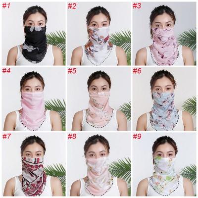 Frauen Chiffon Maske Schal Gesichtsverpackungen Blumendruck Lady Seidenhalsschals Foulard Bandana Sommersonnenmasken Anti-Staubschutz