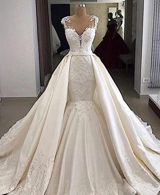 Cap sleeves White Mermaid 2 in 1 Wedding Dresses with Overskirt_2