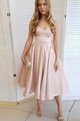 Shining Pearl pink cheville length Short Homecoming Dresses_1
