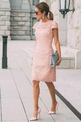 Pink Short Sleeves Column Lace Knee Length Short Homecoming Dress
