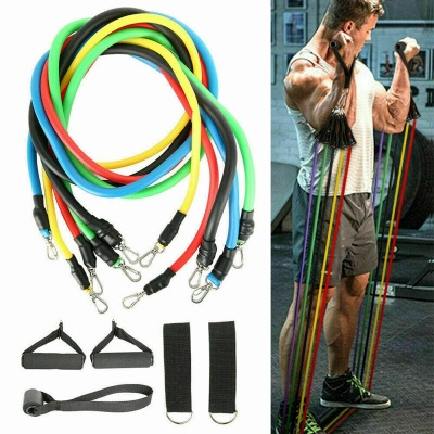 11*Pcs Combination Pull Rope Gym Fitness Resistance Bands Muscle Building Sport Equipments Yoga Elastic Band