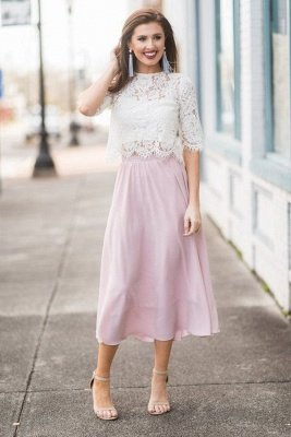 Two-toned White Pink Summer Homecoming Dress Online