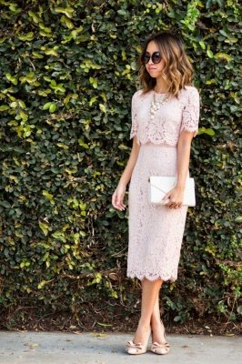 Pink Column 1/2 Ärmel Sommer Homecoming Kleid Online