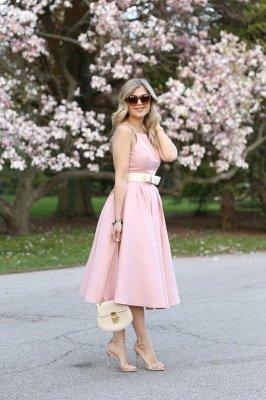 Light Pink Halter Sleeveless Summer Homecoming Dress with Belt_3