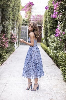 Summer Lace Blue See-through Affordable Homecoming Dress