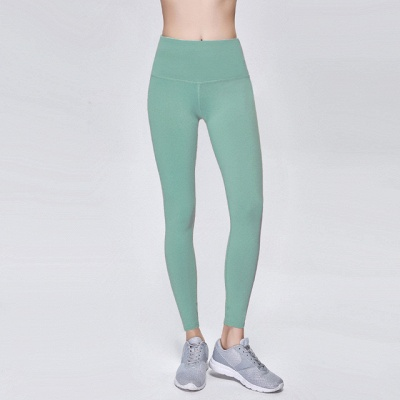 Elastic Fitness Lady Overall Full Tights Solid Color High Waist Yoga Gym Wear Leggings_7