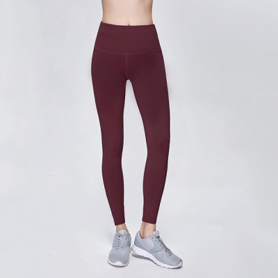 Elastic Fitness Lady Overall Full Tights Solid Color High Waist Yoga Gym Wear Leggings_9