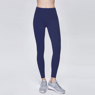 Elastic Fitness Lady Overall Full Tights Solid Color High Waist Yoga Gym Wear Leggings_10