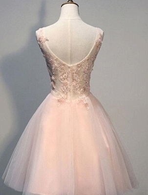 Pink Prom Dresses Evening Dresses Short With Lace Appliques A Line Tulle Evening Wear_2