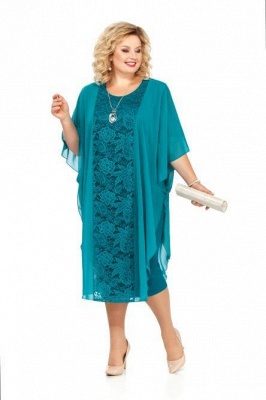 Plus Size Mother of the Bride Dress Knee Length Half Sleeve Church Dresses US14w-24w_1