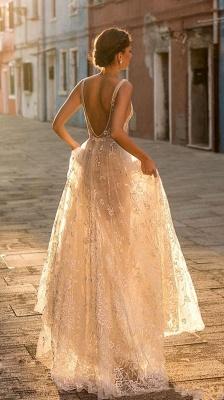 Chic Champange V-Ausschnitt Ärmelloses langes Spitzenhochzeitskleid mit hoher Taille_3