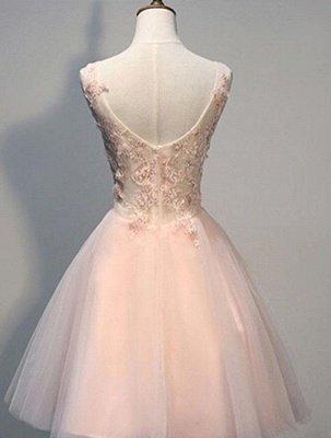 Rosa Ballkleider Abendkleider kurz mit Spitzenapplikationen Eine Linie Tüll Abendgarderobe_2