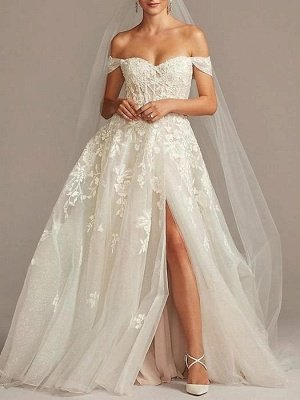 A-Line Wedding Dresses Off Shoulder  Tulle Short Sleeve Sweep Train Lace Illusion