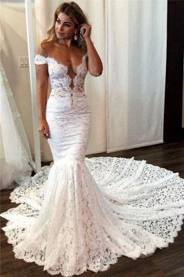 Elegant Off-the-shoulder White Mermaid Wedding Dress