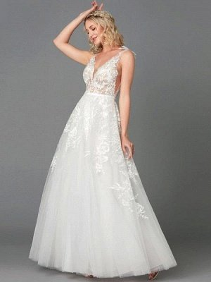A-Line Wedding Dresses Plunging Neck Floor Length Lace Tulle Sleeveless See-Through