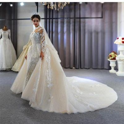 Vestido de novia marfil de encaje sirena de cuello alto de moda con sobrefalda_6