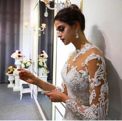 Vestido de novia marfil de encaje sirena de cuello alto de moda con sobrefalda_5