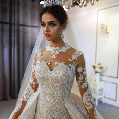 Vestido de novia marfil de encaje sirena de cuello alto de moda con sobrefalda_3
